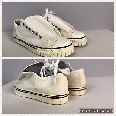 Vintage NOS 60s 70s White With Stripes Canvas Basketball Shoes Unworn Boy's 4.5