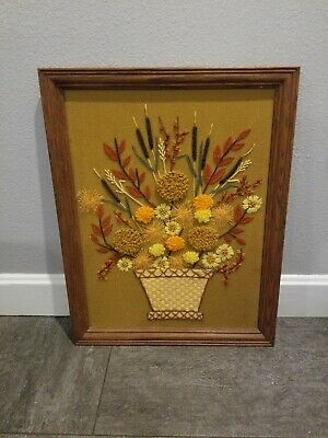 Vtg Mid Century Yarn Art Embroidered Framed Wall Hanging Flower Bouquet Picture