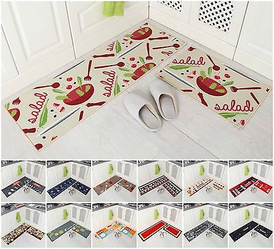 2-Piece Kitchen Mat Set Doormat Runner Rug Anti-Slip Carpet Floor Pad Non Slip