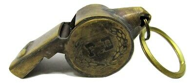 "New Brass 2"" Working Replica FD Fire Department Whistle w/Ring Vintage Patina"