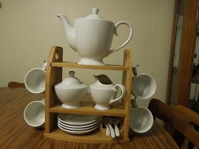 Solid white Tea/Coffee set Teapot, Creamer, Covered Sugar, Cup, Saucers & spoons