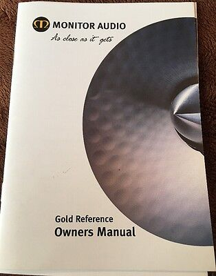 Monitor Audio Gold Reference Owners Manual