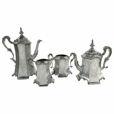 Gothic Revival Antique English Sterling Silver Tea Set. 1852. STUNNING