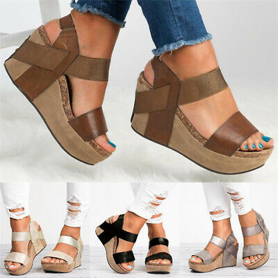 232dfd5a346 Women Platform Strappy Sandals Chunky Wedge Flatform Peep Toe Casual Shoes  35-43