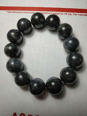 Grade A 100% Natural Genuine Burmese Jadeite Jade Black Beaded Bracelet A#28