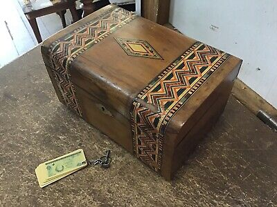 Antique Vintage Wooden Small chest Box Trinket Jewellery box With Key