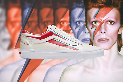 NIB Vans Limited Edition David Bowie's Aladdin Sane Album Leather Old Skool
