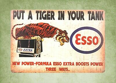 US SELLER- Esso put a tiger in your tank gas tin metal sign home accents store