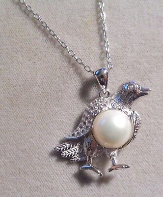 STERLING SILVER  w RHODIUM FINISH  BIRD BROOCH  CABOCHON FW  WHITE PEARL 18'