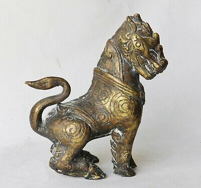 AUTHENTIC Antique Chinese Ming Archaic Bronze Dog Statue Figurine Shishi Foo