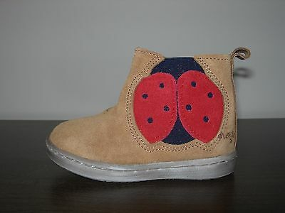 Next Baby Girl Infant Ankle Boots Tan Leather Suede Ladybird Eu 19 / Uk 3
