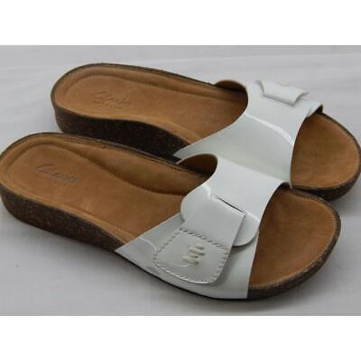 bf7dbfc8415f CLARKS ARTISAN WOMEN S Perri Reef White Leather Slide Sandals Size ...