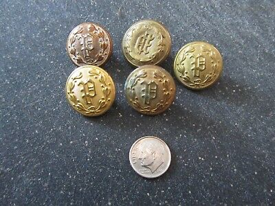 """Police """"P"""" Buttons Uniform Antique Mixed Makers Lot of 5 Vintage"""