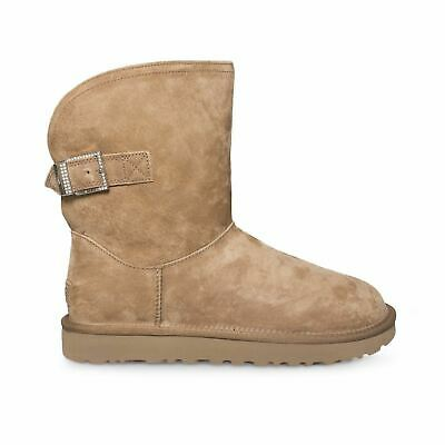 4c2551af6b6 UGG REMORA BUCKLE Chestnut Suede Sheepskin Crystal Women`s Boots Size Us 11  New