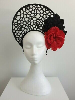 Miss Halo womens black lace halo headband fascinator with red flower