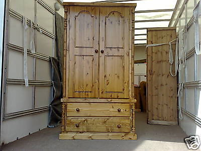 Solid Pine Buckingham Gents 2 Drawer Wardrobe Olde Antique Wax No Flat Packs