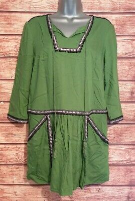 TU Size 10 Tunic/Smock/Top GREEN Embroidered PEASANT Style VGC Women's Casual