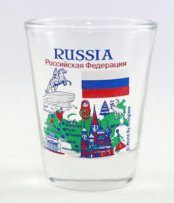 Russia Landmarks And Icons Collage Shot Glass Shotglass