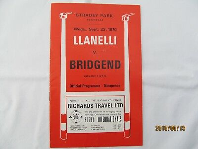 Club Rugby Union Programme .Llanelli RFC v Bridgend RFC. September 1970.