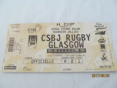 Rugby Union Unused Match Ticket. CSBJ Bourgoin v Glasgow October 2005