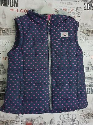 Girls Next Heart Printed Hooded Gilet Bodywarmer Size Age 11-12 Years