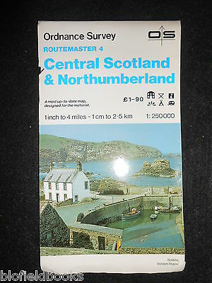 "VINTAGE ORDNANCE SURVEY 1"" MAP - Central Scotland & Northumberland 1986, Route 4"