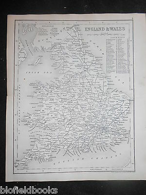 Original J Archer Antique Map of England and Wales (1847) Antiquarian Geography
