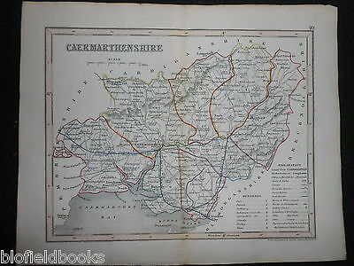 Original Antique Map of Caermarthenshire (South Wales)  c1850s - Dugdales/Welsh