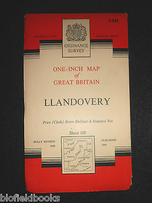 "VINTAGE ORDNANCE SURVEY 1"" MAP - Llandovery - 1960 - Sheet 140 - Dyfed, Wales"