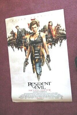 """""""Resident Evil The Final Chapter"""" original two sided 27 x 40 movie poster"""