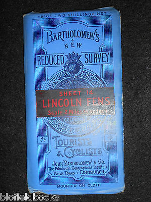 Bartholomew's Survey Map for Tourists & Cyclists - Lincoln Fens - c1912/Sheet 14