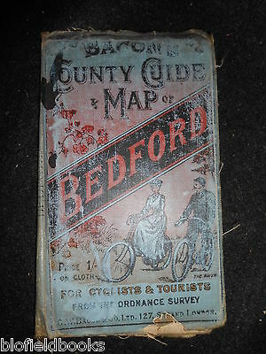 Bacon's County Map of Bedford for Cyclists and Tourists - c1890 - Victorian Map