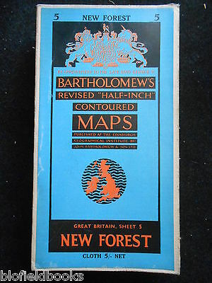 Vintage Bartholomew Half Inch Map of the New Forest - 1959 - Gt Britain Sheet 5