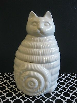 Retro Vintage Modern 1980's TOSCANY JAPAN White Kitty Cat Cookie Ceramic Jar