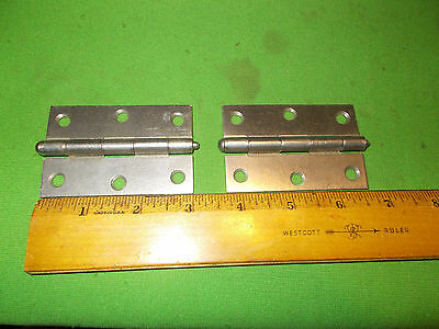 Vintage  Pair Of Solid Steel  Stanley  Hinges With  Removeable Pins