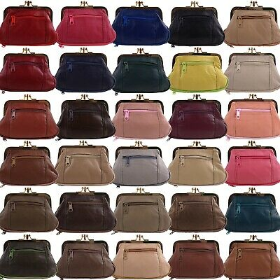 Ladies Soft Leather Clasp Purse Coin Purse Change Handy Zipped Gift