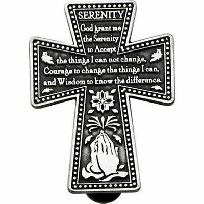 SERENITY PRAYER PEWTER Cross Pocket Magnifier Charm Token