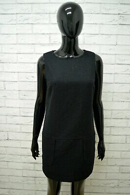 Vestito BENETTON Nero Donna Taglia Size 44 Dress Woman Black Abito Tubino Lana