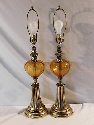 Vintage Pair of Mid-Century Amber Glass Table Lamps  Hollywood Regency