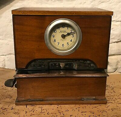 Antique Factory Clocking In Clock Machine