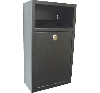 External Wall Mounted Cigarette Bin - Outdoor Wall Ashtray - Black Steel