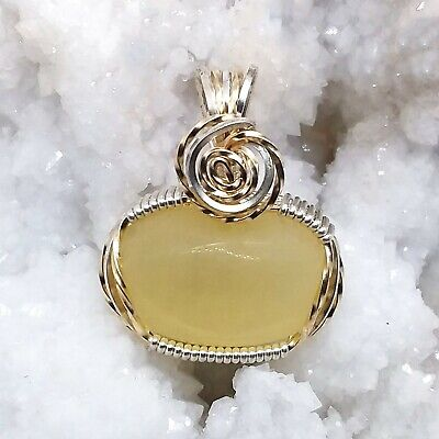 Calcite, wire-wrapped, necklace, sterling silver, 14k gold filled, yellow, #1540