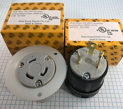 High Quality NEMA L6-30 Locking PLUG and FLANGED OUTLET , UL listed