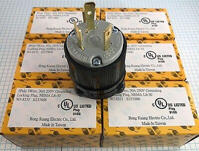 6 units of High Quality NEMA L6-30 Plug, Male, UL listed