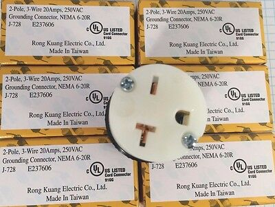 6 units of High Quality, NEMA 6-20 Grounding Connector, UL listed