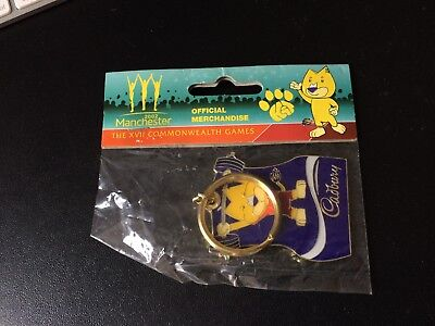 Sports Memorabilia Cadbury Chocolate Weightlifting Manchester 2002 Games Key Ring Mint Bag