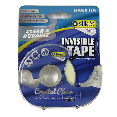 Crystal Clear Stik-ie Invisible Tape in a Dispenser – 19mm Wide, 33m Long