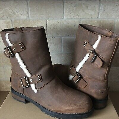 96ed139d4fb UGG NIELS II Water-resistant Chipmunk Leather Moto Short Boots Size 12  Womens