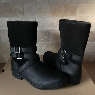 34e228517aa NEW UGG LORNA Genuine Shearling Lined Wedge Boot Black Leather Size ...