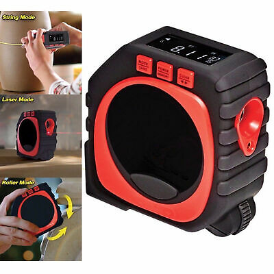 3-in-1 Measure King Digital Tape Measure String Mode/ Sonic Mode/ Roller Mode